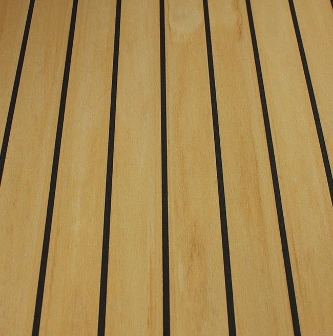maple-black synthetic teak decking Vortec Marine