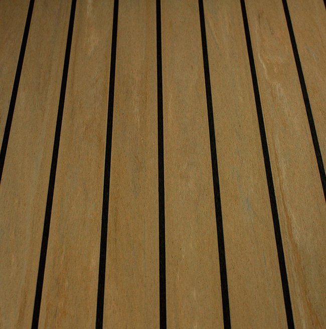 sunbleached teak and black synthetic teak decking Vortec Marine