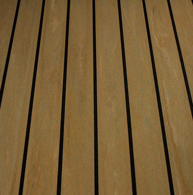 sunbleached teak and black synthetic teak decking Vortec Marine